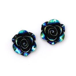 Idin Ohrclips - Schwarze, glänzende Rose in AB Farbe (Regenbogeneffekt) (ca. 19 x 19 mm) -