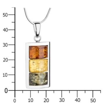 InCollections Damen-Halskette 925 Sterling Silber 3 Bernsteine mehrfarbig 45 cm -