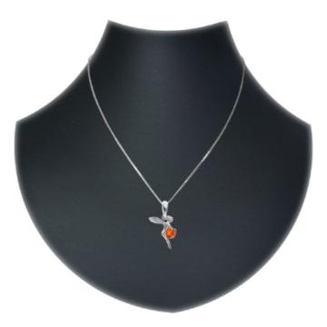 InCollections Damen-Halskette Elfe 925 Sterling Silber 1 Bernstein gelb 42 cm -