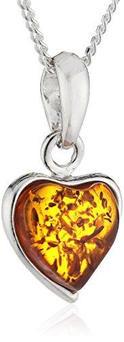 InCollections Damen-Halskette Herz 925 Sterling Silber 1 Bernstein gelb 42 cm -