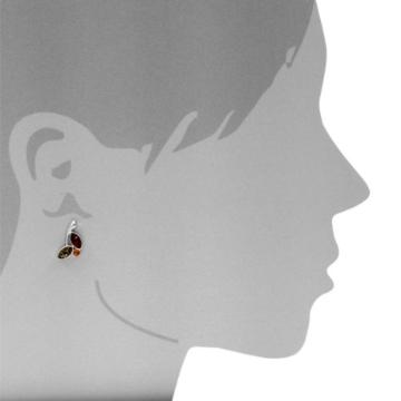 InCollections Damen-Ohrstecker 925 Sterling Silber 6 Bernsteine mehrfarbig 19 mm -