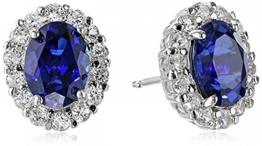 Isady – Kate Middleton - Damen Ohrringe – Ohrstecker - 14 Karat (585) Weißgold platiert – Zirkonia saphir Blau -