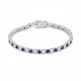 Isady - Kate – Stil Kate Middleton – Damen Armband - Armreif - 14 Karat (585) Weißgold platiert – Zirkonium Blau und Transparent -