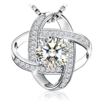 """J.Rosée Kette Damen 925 Sterling Silber Platin Zirkonia 1.25 carat Anhänger """"Nie getrennt"""" 45+5cm Halskette exquisite Geschenk-Box -"""