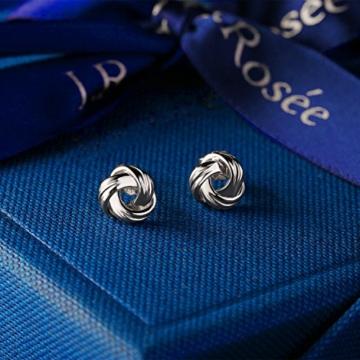 J.Rosée Ohrringe Damen Silber Twist-Würfel Ohrstecker Platin Zirkonia exquisite Geschenk-Box -