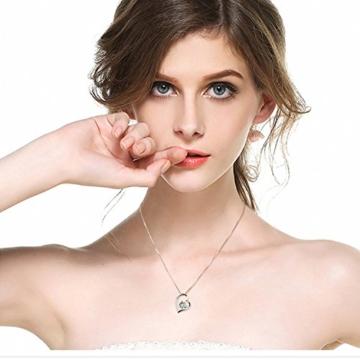 J.Vénus Damen Schmuck, Halskette Silber mit Herz Anhänger 925 Sterling Silber Zirkonia 45cm / Kette, Schmuck mit Etui (ewige Liebe - weiß) -