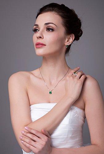 Jewelrypalace 3.42ct Grün Simulierte Prinzessin Schliff Nano Russisch Smaragd Anhänger Kette Halskette 925 Sterling Silber Damen -
