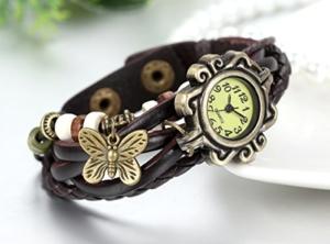 JewelryWe Damen Armbanduhr, Retro geflochten Leder Armband Armreif Armkette Uhr mit Schmetterling Anhänger, Braun Bronze -