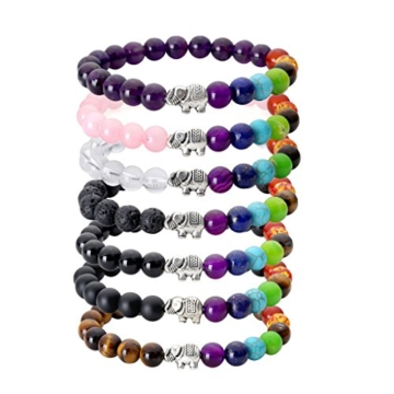 JSDDE Lava Armband, Zen-Buddhismus Armreif mit Elefant Energietherapie Yoga-Armband 7 Chakra Healing Balance Buddha-Armband,Rosenquarz -