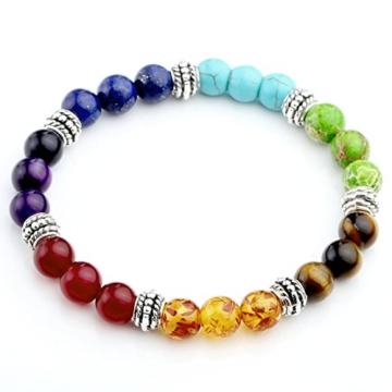 JSDDE Schmuck, Unisex Energietherapie Yoga-Armband 7 Chakra Healing Balance Armreif Wurzelchakra Elastisches Armband -