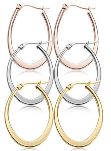 Jstyle Schmuck 3 Paare Ohrstecker Creolen Clips Ohrschmuck Damen Ohrringe Farbe Silber Gold Rosagold -