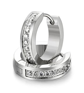 Jstyle Zirkonia Creolen Ohrclips Ohrringe Edelstahl Ohranhänger für Damen 16mm -