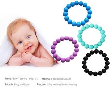 kaigeli888 Silikon Lebensmittelqualität BPA-freie Kinderkrankheiten Halskette Beißring für Mama zu tragen und Armband/Armreif -