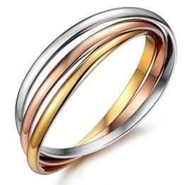 "Kim Johanson Edelstahl Damen Armreif ""Tricolor"" mit 3 geschlossenen Ringen Roségold / Gold / Silber Armband inkl. Schmuckbeutel -"