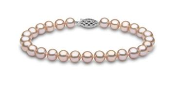 Kimura Perlen 14 Karat Weißgold 6mm pink naturfarbens 19cm langes Süßwasser-Zuchtperlen Armband in AA Qualität -