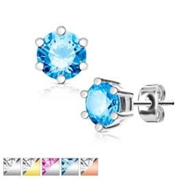KULTPIERCING - Ohrringe Zirkonia Kristalle 1 Paar Ohrstecker 316 L Chirurgenstahl / Edelstahl Damen Schmuck Ohr-Schmuck - in verschiedenen Farben u. Größen -