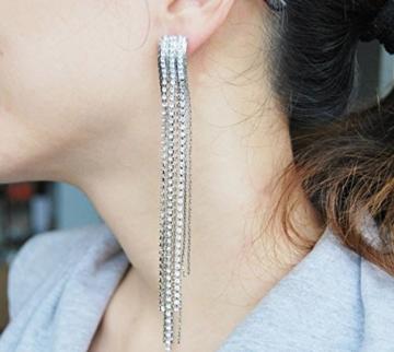 Latigerf Silber-Ton lange Quaste wieder Non-Pierced Ohrclips Ohrring Clips für nicht durchbohrte Ohren -