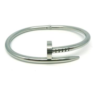 LEORX Edelstahl Nail Style hohe polnische Armreif (Silber) -