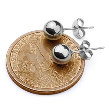 LIEBLICH Ohrringe Edelstahl Ohrstecker Kugel silberfarben für Damen und Herren 6 Paar 3mm-8mm -