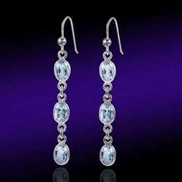 MATERIA 925 Silber Ohrhänger lang mit Blautopas 6x53mm - Damen Ohrringe blau rhodiniert inkl. Schmuckbox #SO-183 -
