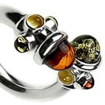 Mehrfarbener Bernstein Sterling Silber Designer Ring -