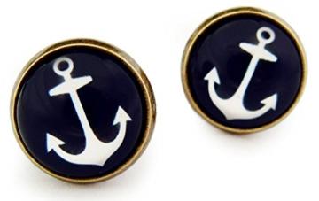 Miss Lovie Ohrstecker Nautische Anker Ohrringe Cabochon 12mm Ohrschmuck Dunkelblau Bronze -