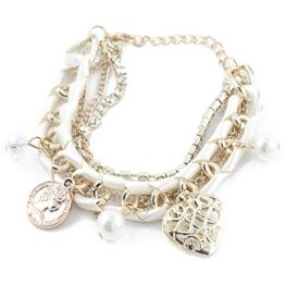 Modisches Bettelarmband Charm Damen Mädchen Armband Armschmuck Armreif Schmuck Perlenarmband Accessoire in weiß von der Marke MyBeautyworld24 -