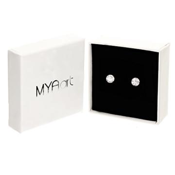 MYA art Ohrstecker 925 Sterling Silber mit einem Zirkonia Solitär Stein in Diamant Form Silberohrstecker Ohrringe Stecker Weiß Klein Rund 4mm MYASIOHR-67 -