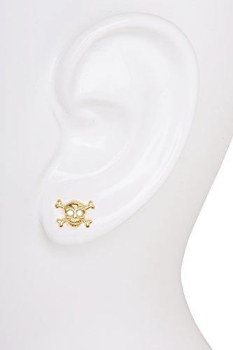 MyGold Totenkopf-Ohrstecker Ohrring (Einzel-Single-Stecker) Gelbgold 585 Gold (14 Karat) massiv Hochglanz 6mm x 10mm Totenkopf Skull Pirat Herrenschmuck Goldstecker Herrenohrring Huron V0005739 -