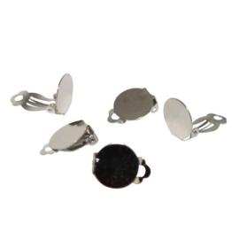 Ohrclips mit Platte silber (10257) 15mm 10Stk. -