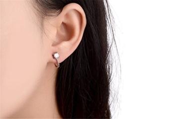 Ohrclips ohne ohrlöcher Damen Mädchen 925er Sterling Silber Hypoallergen einfache Gliter Zirkonia Ohrklemme -