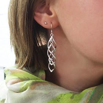 Ohrhänger mit 2 fach gedrehten Spiralen Elementen, 925 Sterling Silber pl., Ohrringe, Damen Schmuck, Geschenk -