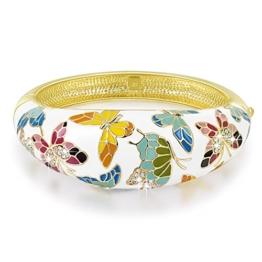 """Pauline & Morgen """"Feder von Versailles"""" Damen-Armband Kristall Weiß Emaille Schmetterling Schmuck Geburtstagsgeschenk Weihnachten Weihnachtsgeschenke Valentinstag geschenke für frauen zum geburtstag -"""