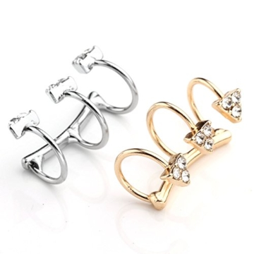 PiercingJ 2x Legierung Kristall Strass Pizza Pizzaförmig Ohrklemme Ohrclip Ohr Clip Ohrschmuck Fake Illusion Cheater Ohrstecker Helix Cartilage Knorpel Piercing Cuff Gold/Silber (silber + gold) -