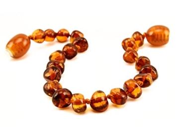 Primoyo Bernstein Armband (Cognac) – Länge 14 cm – 100% echter Baltischer Bernstein – 100% Handarbeit – ein tolles Geschenk! -