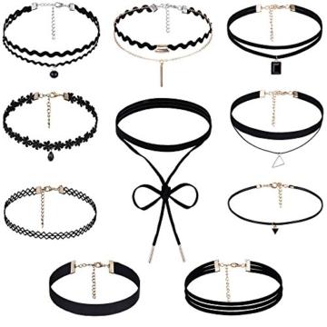Rovtop 10 Stück Choker Halsketten Set Gummi Halsband Tattoo-Kette Schmuck-Sets Damen-Schmuck Velvet Halskette Tattoo Halsband Schwarz -