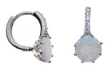 Rund Weiß Opal und Kristall Kleine Creolen in Sterling Silber -