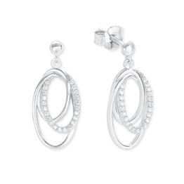 s.Oliver Damen-Ohrhänger Elegant 925 Silber rhodiniert Zirkonia weiß-2012603 -