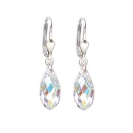 Schöner-SD, 925 Silber Ohrringe mit kleinen Kristallen von Swarovski® 13mm in funkelndem Briolett Schliff -