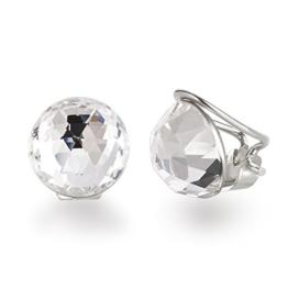 Schöner SD, Ohrclips aus 925 Silber mit 12mm großen funkelnen Kristallen von Swarovski® -