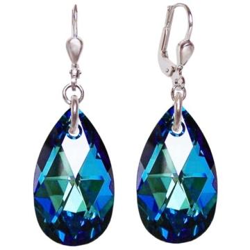 Schöner-SD, Ohrringe 925 Silber Rhodium mit Swarovski® Kristall Tropfen 22mm groß, Farbe Bermuda Blue, blau -