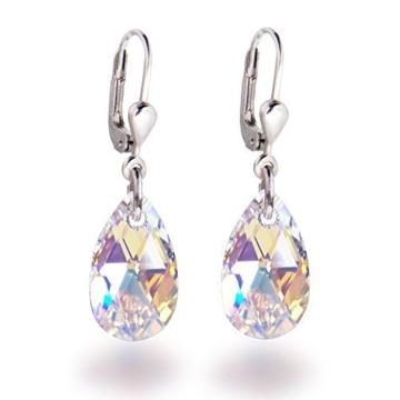 Schöner SD, Schmuckset mit Swarovski® Kristall Tropfen in Crystal Aurora Boreale, 925 Silber Rhodium -