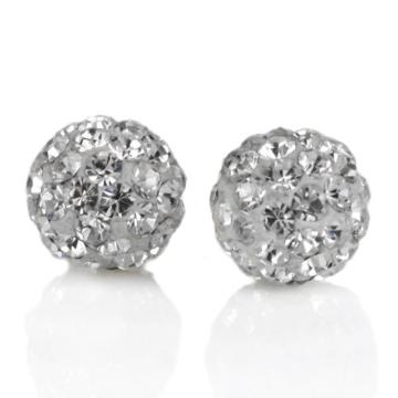 Shamballa Swarovski Kristallkugel-Ohrstecker, 925er Sterling-Silber, 8mm, Weiß -