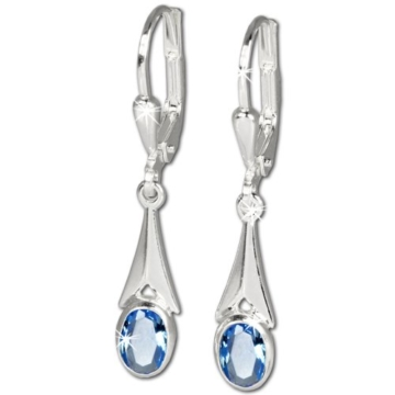 SilberDream Damen-Ohrhänger mit Zirkonia Stein hellblau 925 Sterling Silber SDO514H -