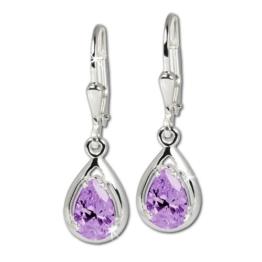 SilberDream Damen-Ohrringe Träne lila 925 Sterling Silber SDO520V -