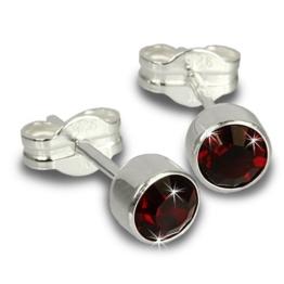 SilberDream Damen-Ohrringe Zirkonia dunkelrot 925 Silber Ohrstecker SDO503D -