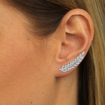 SilberDream Ear Cuff Feder Damen-Ohrring Ohrklemme 925 Sterling Silber Silberschmuck GSO465W -