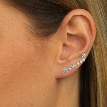 SilberDream Ear Cuff Sternchen Damen-Ohrring Ohrklemme 925 Sterling Silber Silberschmuck GSO464W -