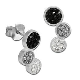 SilberDream Glitzer Ohrstecker drei Kreise 925 Sterling Silber mit Tschechischen Preciosa Kristallen schwarz Ohrringe für Damen GSO600S -