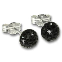 SilberDream Glitzer Ohrstecker schwarz Preciosa Zirkonia Halbkugel Sterling Silber 925 Ohrring GSO221S -